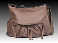 Grey Large Route #66 Hobo with Tooled Rose