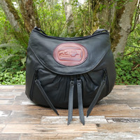 Black Small Route #66 Hobo with Tooled Northwest Indian Seahawk Medallion.