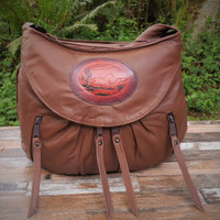 Cognac / Brown Small Route #66 Hobo with Tooled Running Horse Medallion.