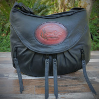 Black Small Route #66 Hobo with Tooled Running Horse Medallion.