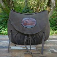 Distressed Brown Medium Route #66 Hobo with N.W. Indian Wolf Medallion