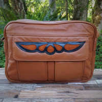 "Cognac ""E"" Bag Electronic Organizer with Overlay"