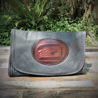 Grey Strapped Wallet with Tooled SeaHawk Medallion.  Combines the elegant look and quality of soft leather with a Tooled Leather Medallion on the front flap.