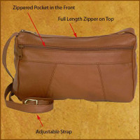 Distressed Brown 3 Zip Envelope Purse
