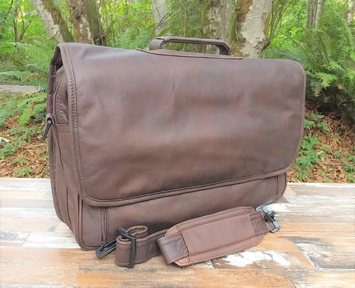 Distressed Brown Flapover Briefcase 15""