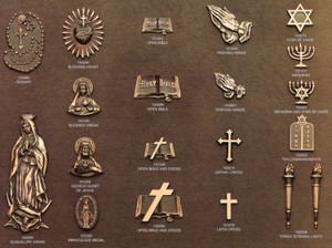Bronze emblems.  Just a few of the thousand to choose from