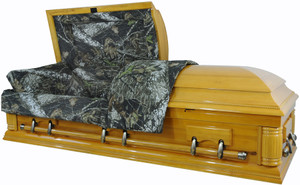 W-8738-FS   Camouflage Casket - Solid Wood  Pine- Hunter's Casket  High Gloss         Click the photos below to enlarge.  8738