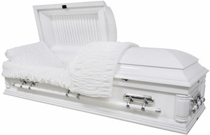 W-8732-FS  Solid Poplar white wood casket