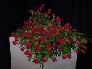 Web Memorial Arrangement #6  Price as pictured $650.00  We can make this smaller with less flowers for $575.  We can make this larger with more flowers for $695. and up