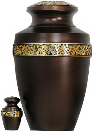 Urn 063-A - Brass Urn Velvet Box plus 1 Keepsake Brown with Gold