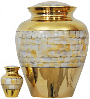 094-A - Brass Urn Velvet Box plus 1 Keepsake Gold with Mother of Pearl