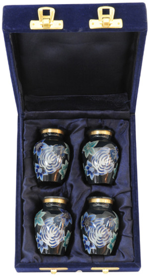 Urn FS 006-C - 4 Mini Brass Urn Velvet Box