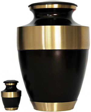Urn FS 021-A - Brass Urn Velvet Box plus 1 Keepsake Brown with Gold Trim