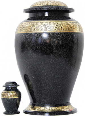 Urn FS 047-A - Brass Urn Velvet Box plus 1 Keepsake Black with Grey Specs/ Gold Trim