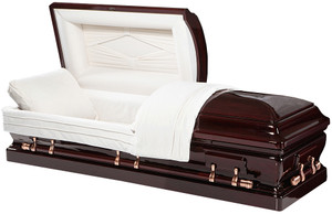 "W-8877-FS Solid Mahogany  8877 - Solid Mahogany Mahogany Wood Almond Velvet Interior Half Couch Eternal Rest Adjustable Bed Matching Pillow and Throw Locking Mechanism Swing Bar Handled Hardware Brass Accessories    Casket Dimensions  Exterior width of casket: 29.5"" Exterior length of casket: 81"" Exterior height of casket: 23 1/4"" Interior width: 25"" Interior length: 79"" Actual Weight: 280 pounds Weight Capacity: 500 pounds"