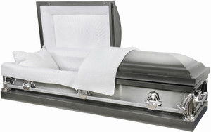M-7132-FS  2 tone silver brushed 20 gauge metal casket  protective