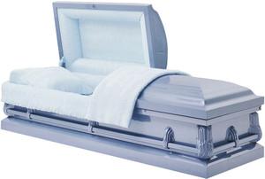 M-3992-FS  JAXSON  20 gauge non-protective  in lite blue with lt blue crepe interior The ideal casket