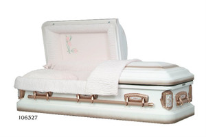 M Carnation 18- Gauge protective metal casket with swing bar handles.