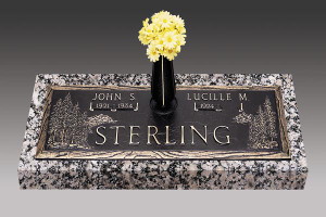 GB73-V1 Evergreen  Companion Bronze over Granite.  3 sizes for companion, choose from dark or light shaded bronze, your choice of 3 bronze emblems, up to 10 shades of granite to choose from and you can choose to have or have not a vase.  Check with your cemetery for what is allowed in the section your loved one is buried.
