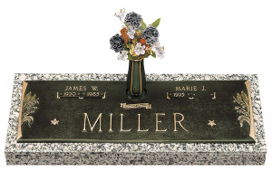 "GB33 V1  ""Lilly of the Valley""  Companion Bronze over Granite marker.  Choose your bronze shade, choose your granite color, choose your three bronze emblems.  Choose to add a vase or not.  You can choose to add personal wording to your memorial."