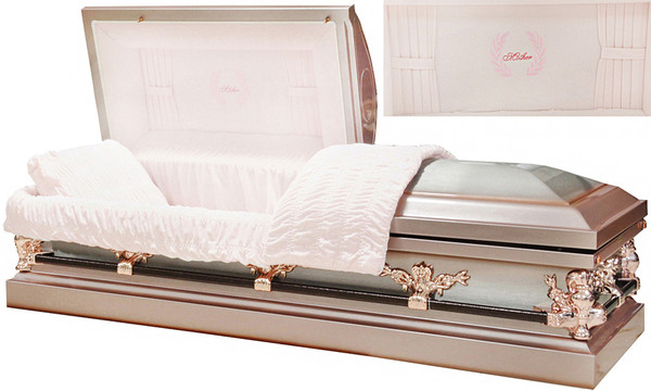 M-8329-FS  HYACINTH / Mother Casket  18ga Protective-Rubber gasketed Silver Rose Finish w/ Silver Brush Rose Tan w/ Curtains Head Panel