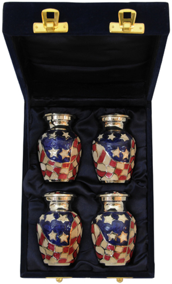 Urn FS 017-C - 4 Mini Brass Urn Velvet Box