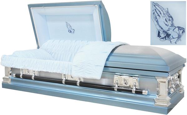 M-8324-FS Praying Hands  18-Gauge protective metal casket with swing handles and lgt blue velvet interior