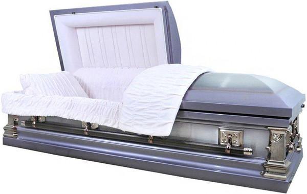 M-2223-FS 18 Gauge protective metal casket Lavender with pink velvet interior