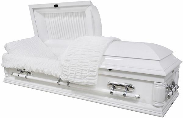 W-8732-FS  Solid Poplar white wood casket