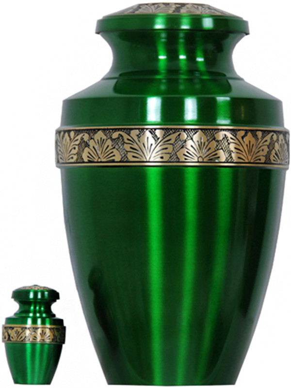 Urn FS 065-A - Brass Urn Velvet Box plus 1 Keepsake Green