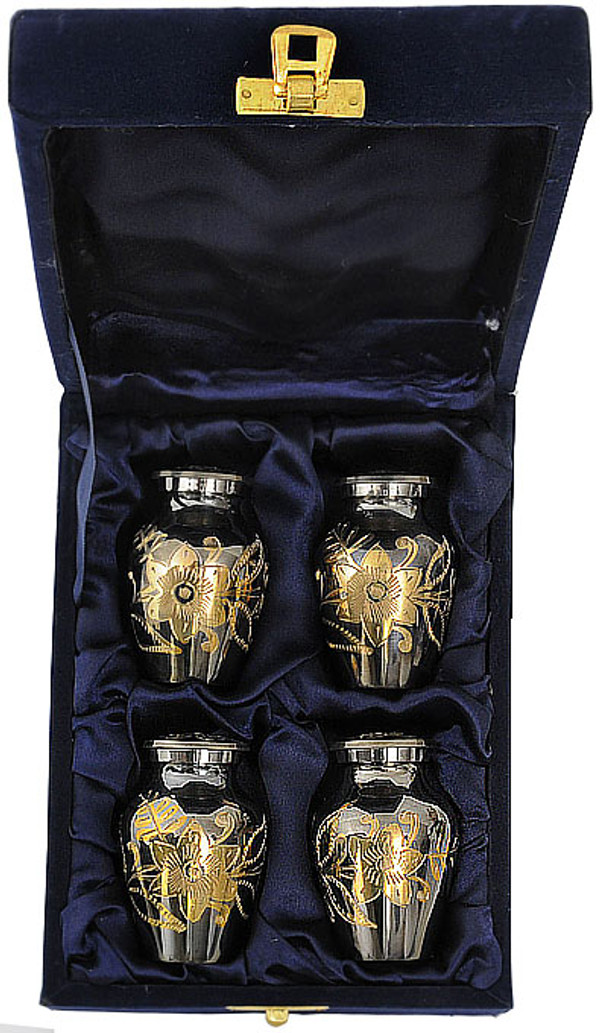 Urn FS 012-C - 4 Mini Brass Urn Velvet Box