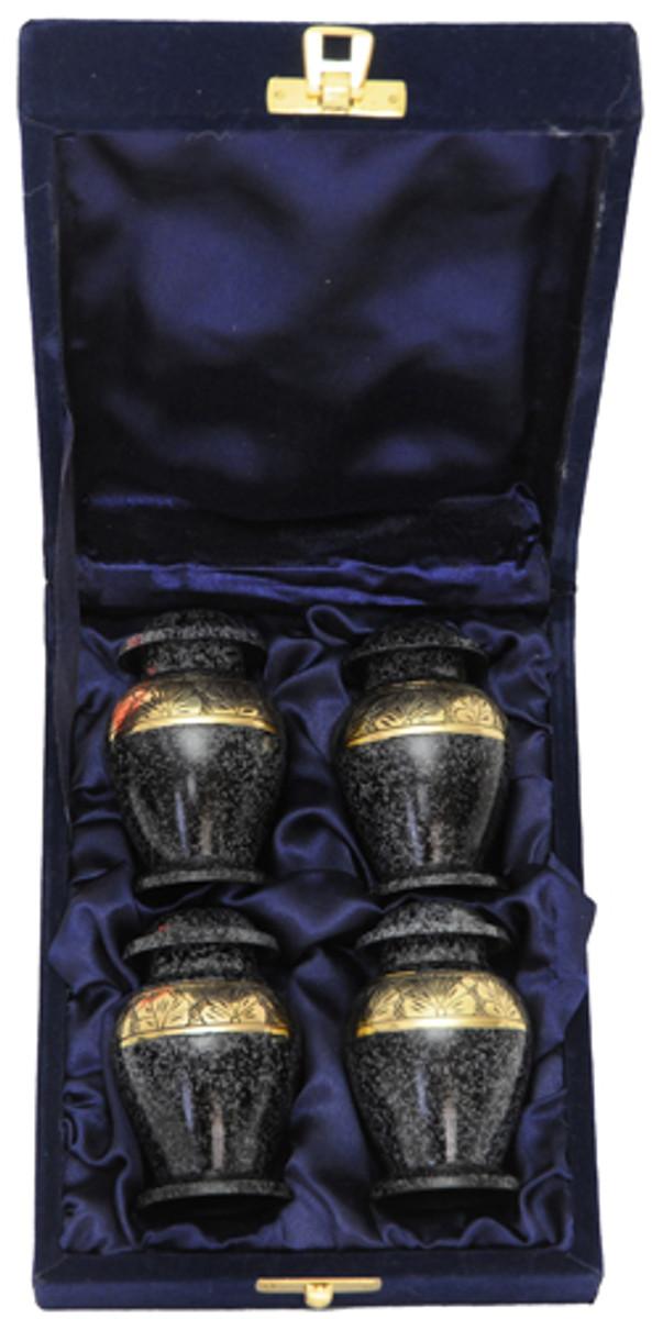 Urn FS 047-C - 4 Mini Brass Urn Velvet Box