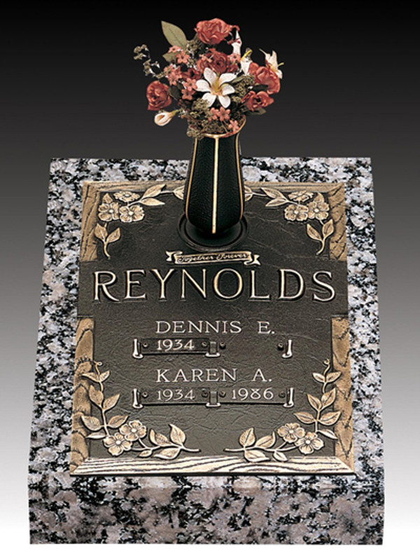 """""""Dynasty Dogwood""""  S-135-V1  Double Internment Bronze over Granite.  A companion marker for those that are buried one atop the other."""