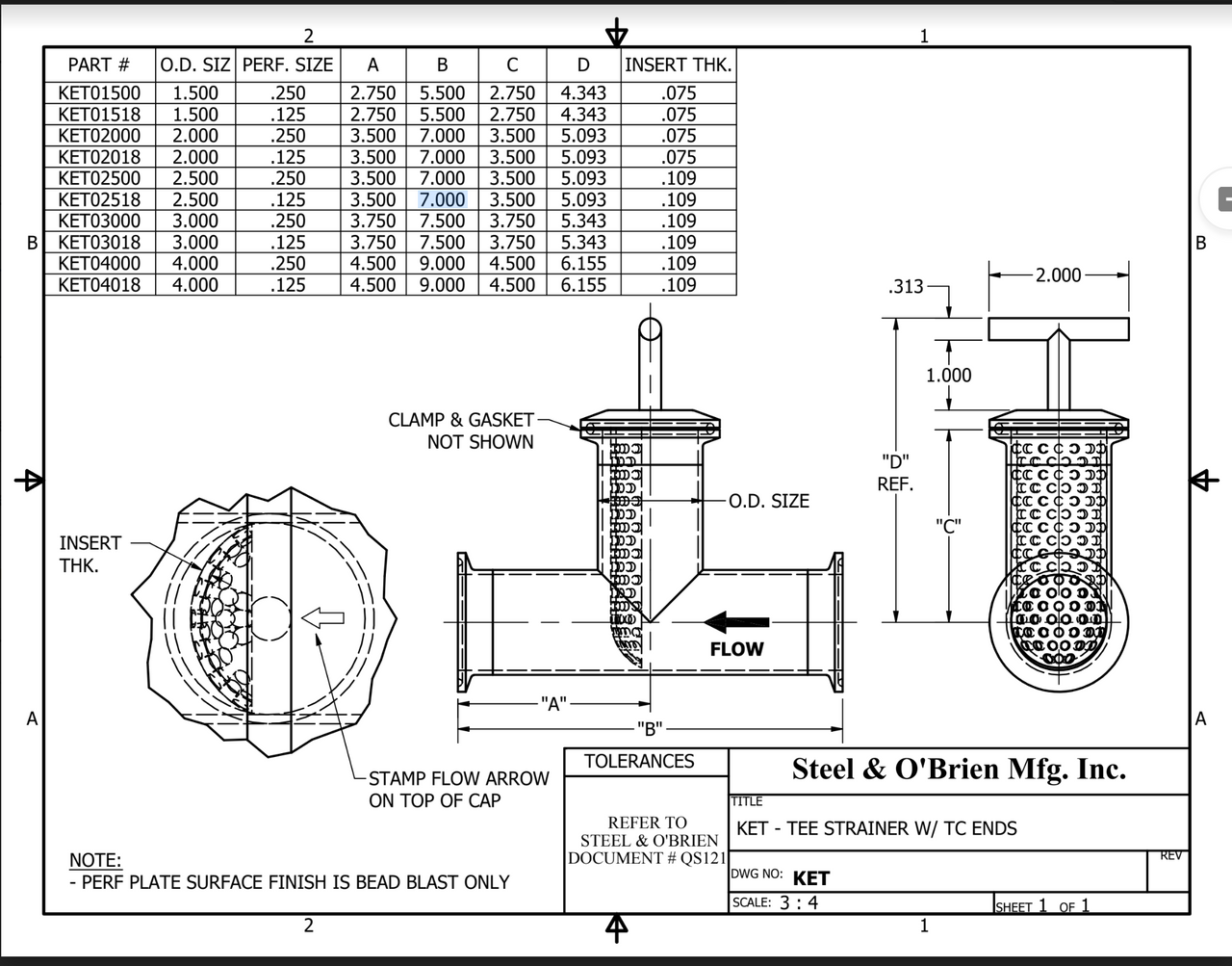 Tee Strainer W/ T/C Ends