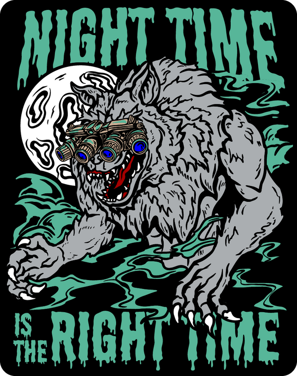 Night Time Is The Right Time Sticker