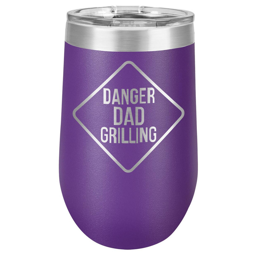DANGER DAD GRILLING 16 oz Stemless Wine Glass with Lid
