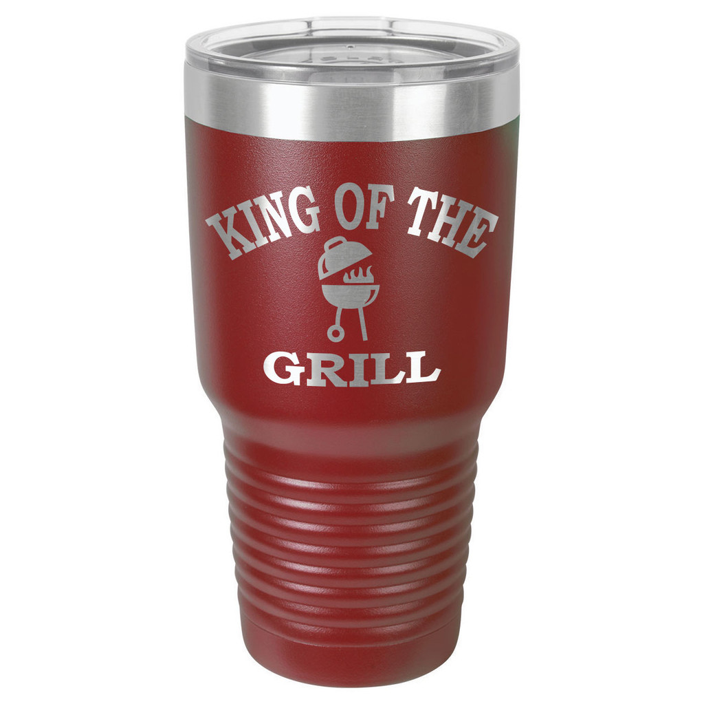 KING OF THE GRILL 30 oz Drink Tumbler With Straw