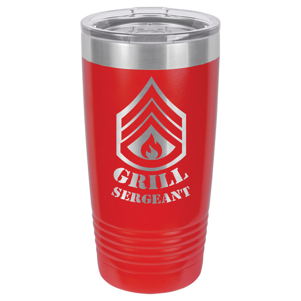 GRILL SERGEANT 20 oz Drink Tumbler With Straw