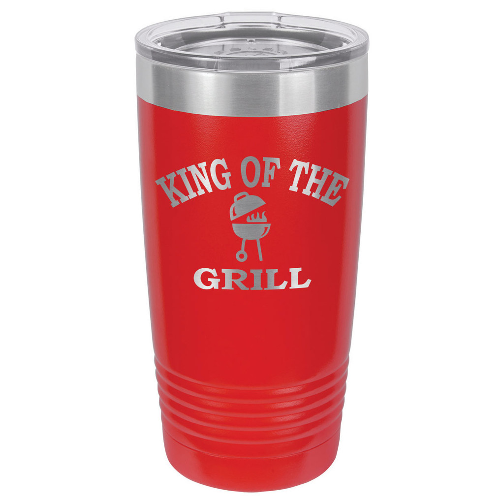 KING OF THE GRILL 20 oz Drink Tumbler With Straw