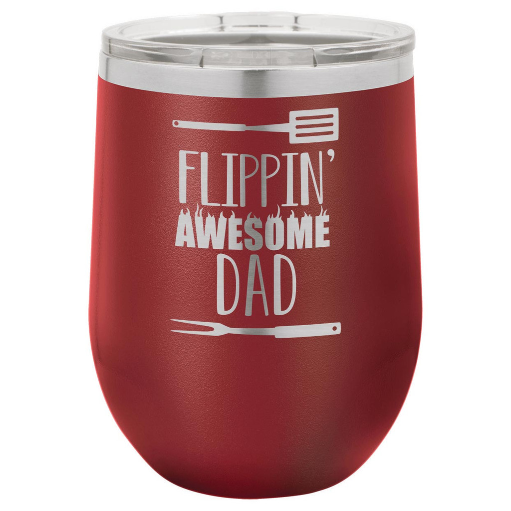 Flippin Awesome Dad 12 Oz Stemless Wine Glass with Lid