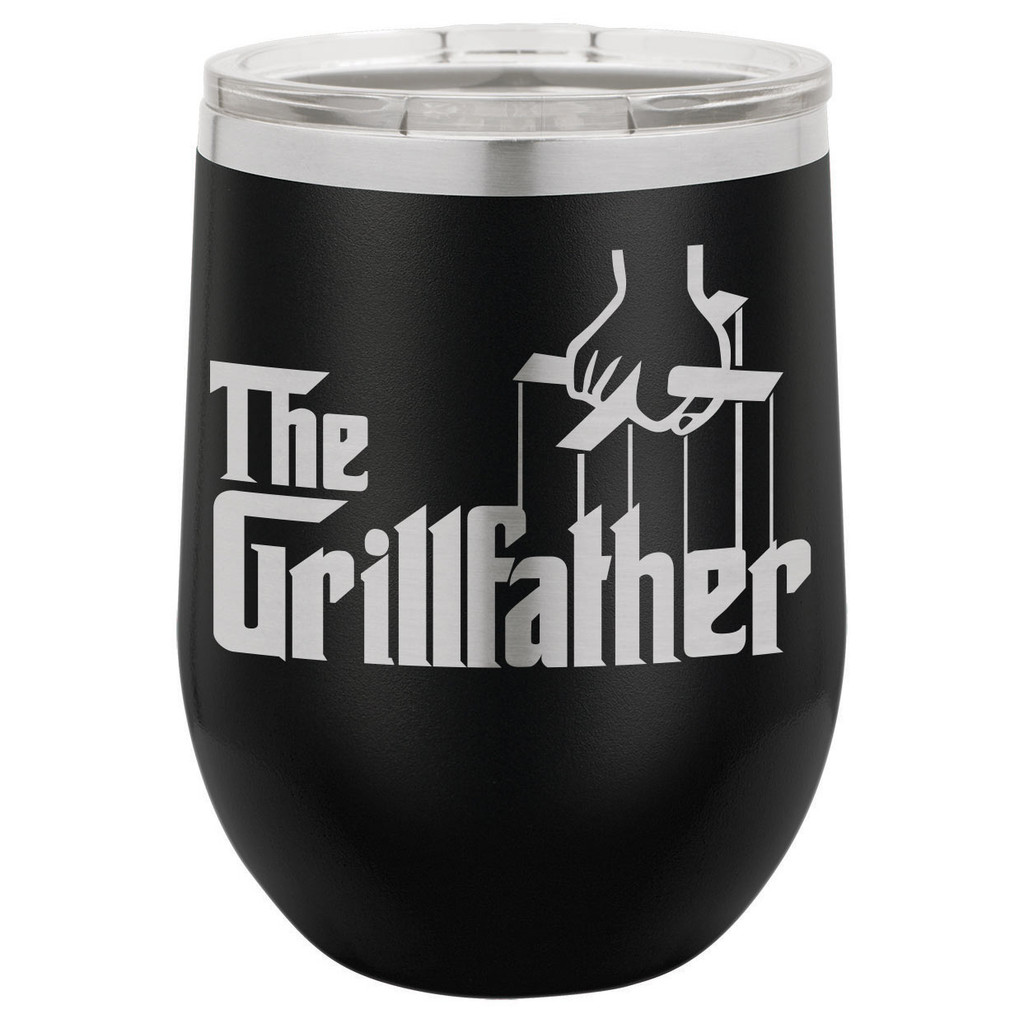The Grillfather 12 Oz Stemless Wine Glass with Lid