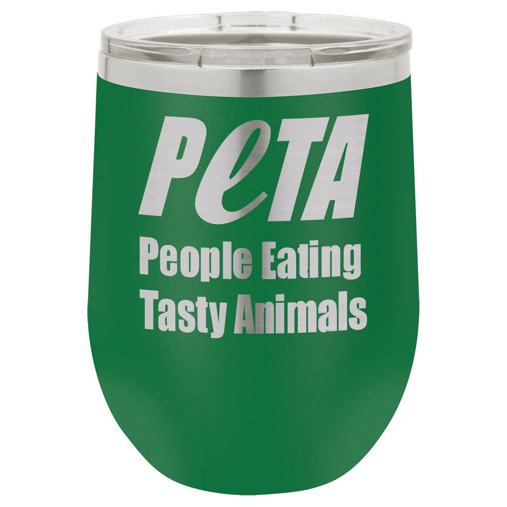 People Eating Tasty Animals 12 Oz Stemless Wine Glass with Lid