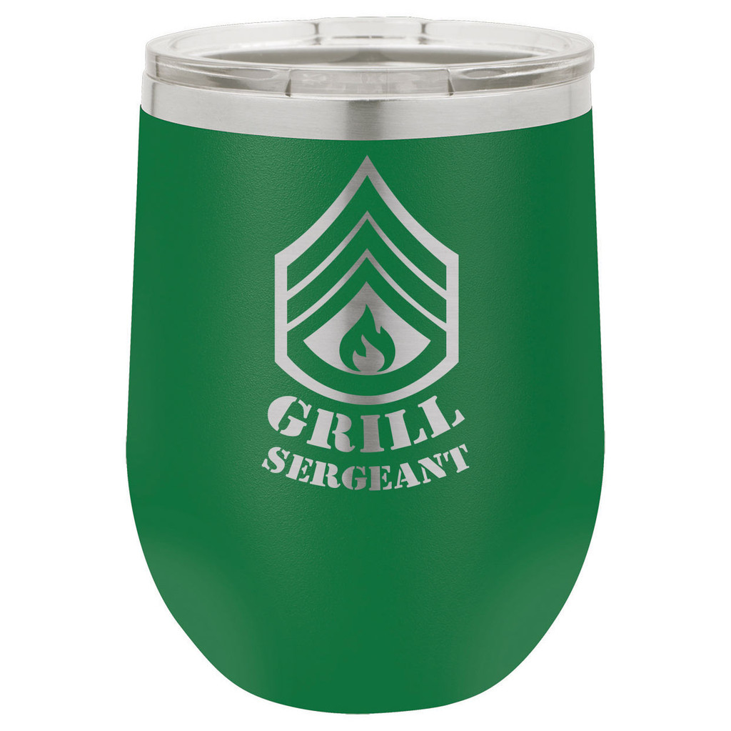 Grill Sergeant 12 Oz Stemless Wine Glass with Lid