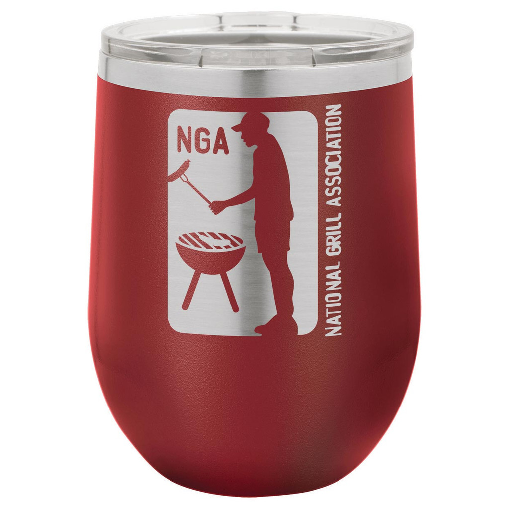 National Grill Association 12 Oz Stemless Wine Glass with Lid