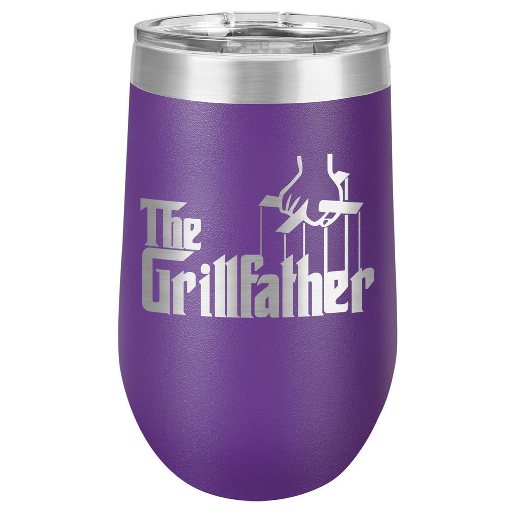 THE GRILLFATHER 16 oz Stemless Wine Glass with Lid