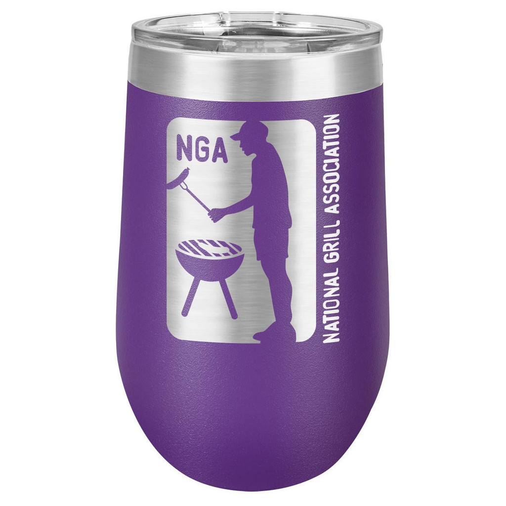 NATIONAL GRILL ASSOCIATION 16 oz Stemless Wine Glass with Lid