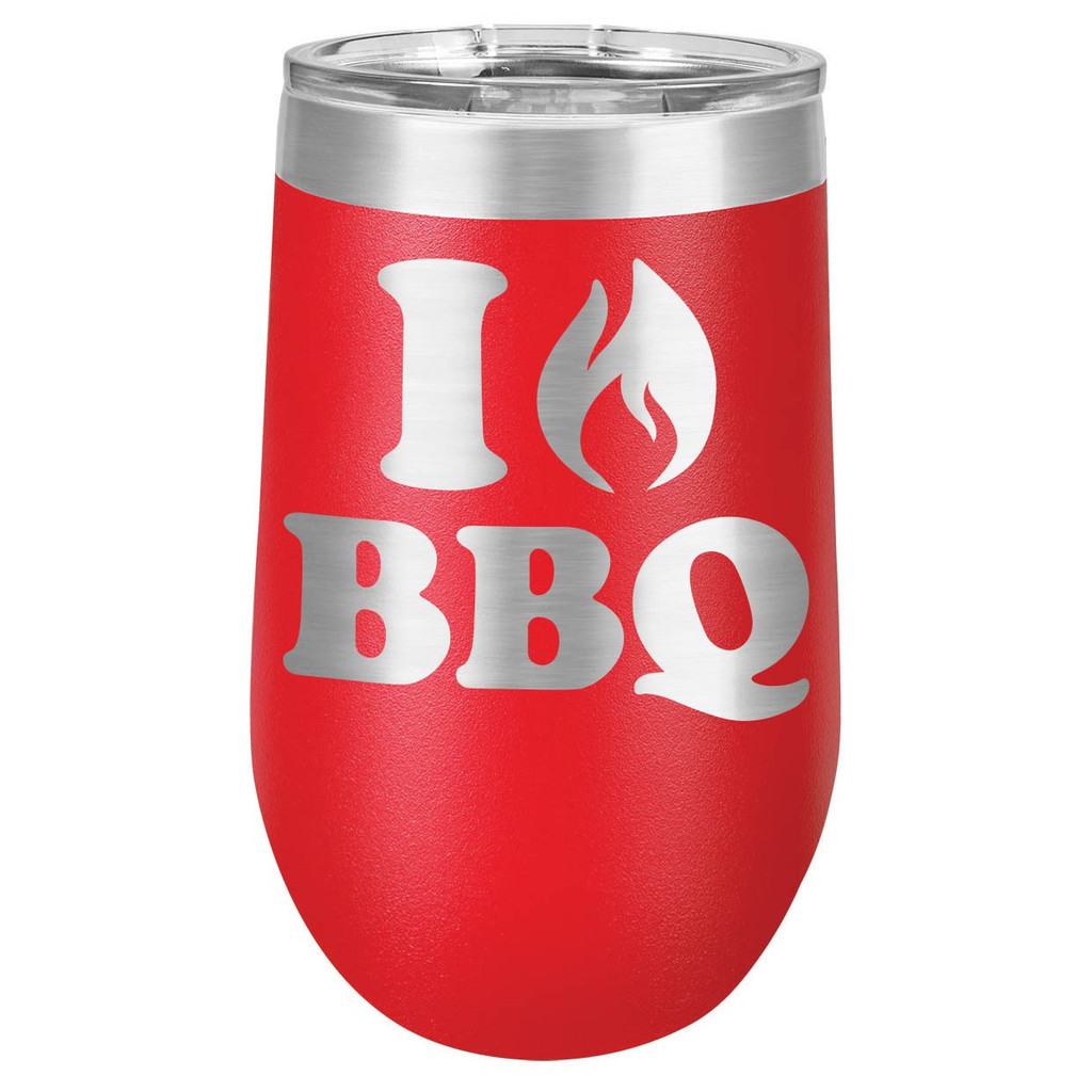I LOVE BBQ 16 oz Stemless Wine Glass with Lid