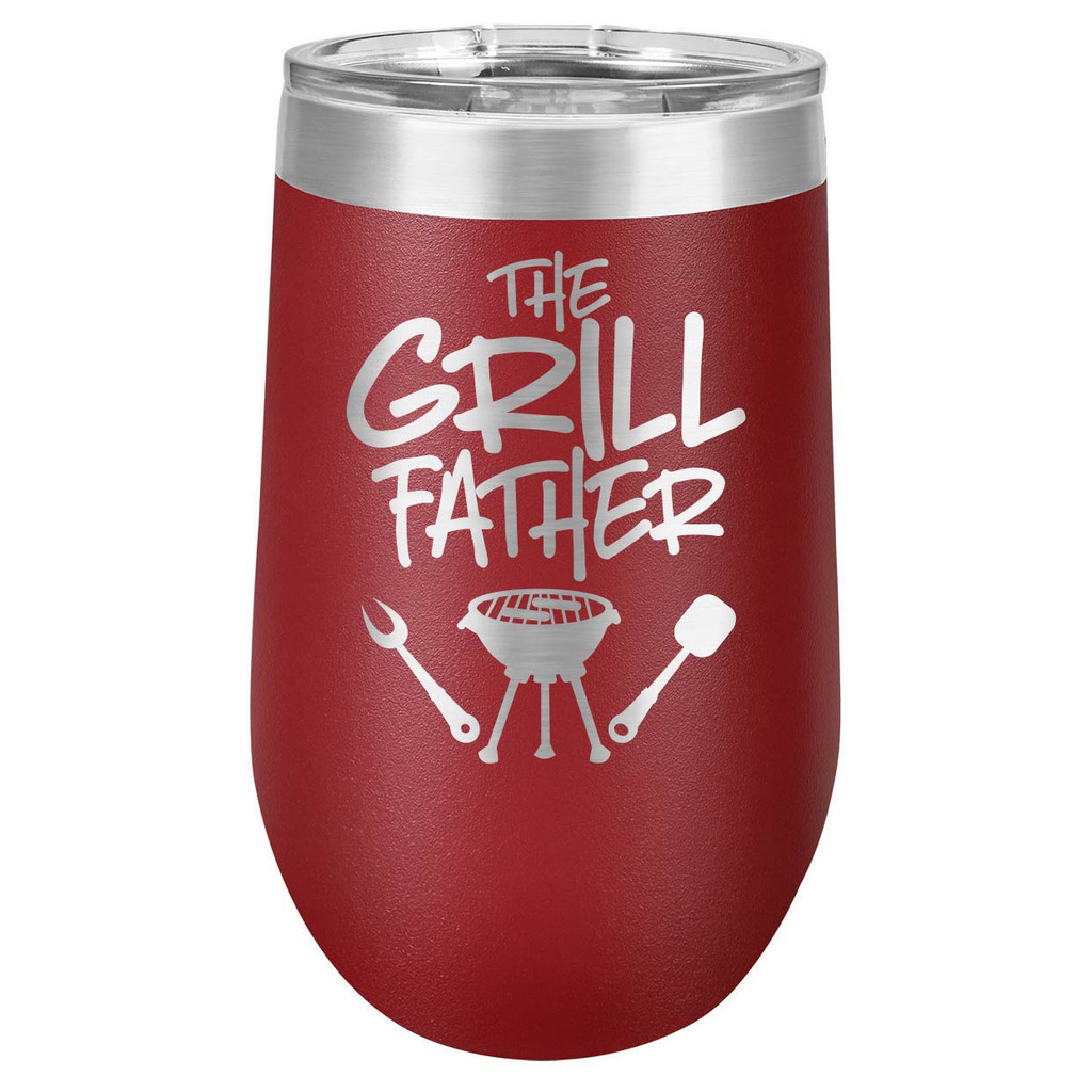 THE GRILLFATHER-B 16 oz Stemless Wine Glass with Lid