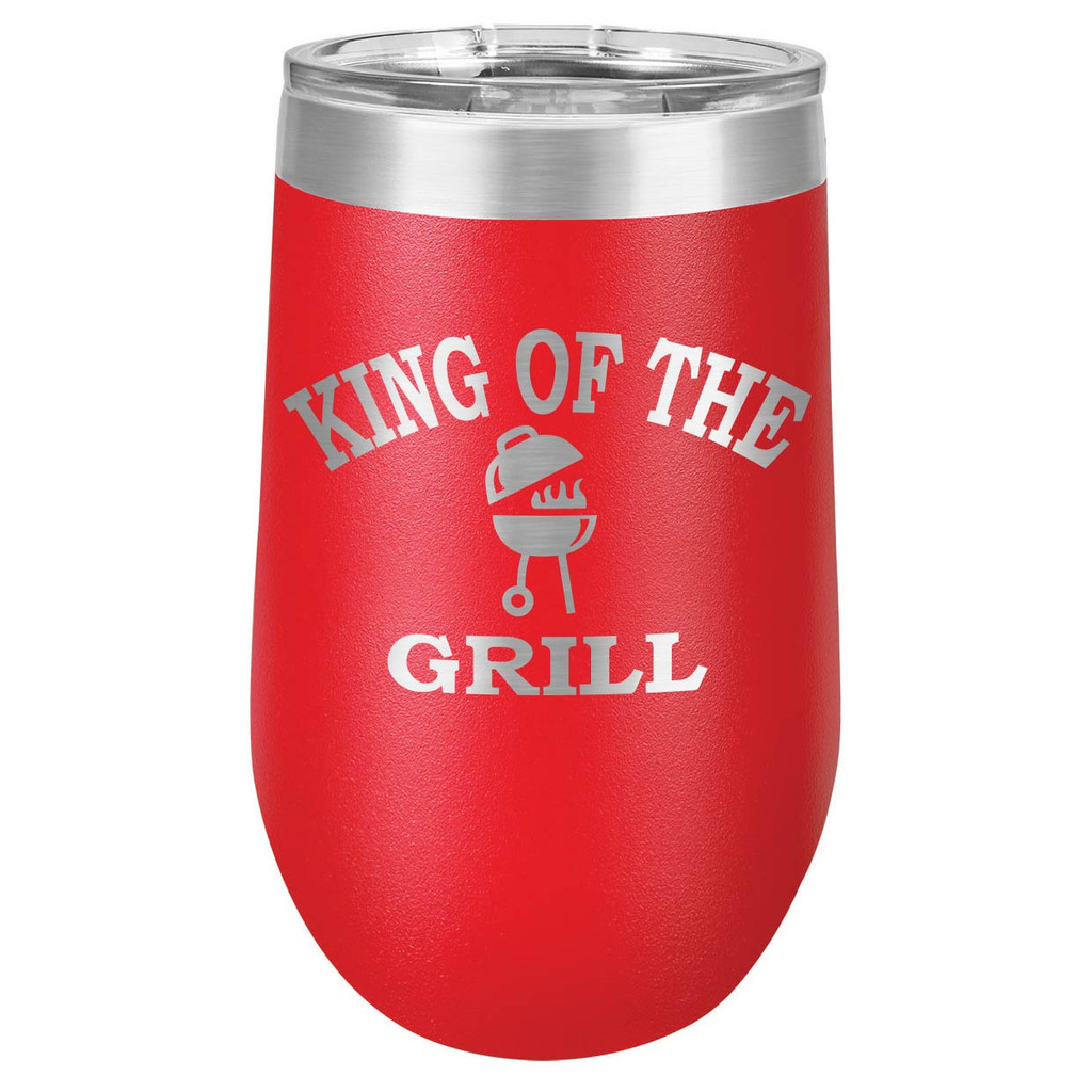 KING OF THE GRILL 16 oz Stemless Wine Glass with Lid