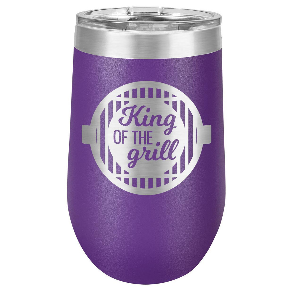 KING OF THE GRILL-B 16 oz Stemless Wine Glass with Lid